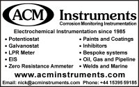 ACM Instruments - MP Corrosion Engineering Directory Advert 2017